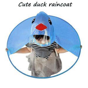 Raincoat Kunststoff Netter Regen Mantel UFO Regenschirm-Hut Magische Hände Regenmantel -(Blau,M)