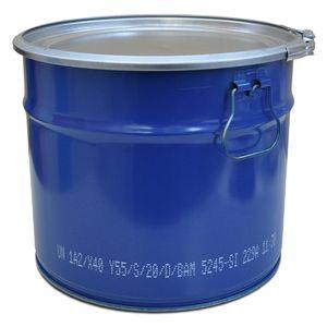 plasteo Stahlfass 20 Liter Hobbock Deckelfass Metall Blechfass Mülleimer Behälter Kübel stabil stapelbar Spannring mit Außenhebelverschluss geeignet für Zyklonstaubabsaugung