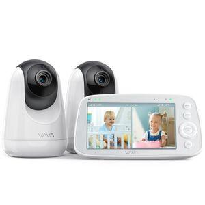 VAVA Babymonitor, mit 2 Kamera zur Überwachung für Baby und Kind, kabellos mit Gegensprechanlage