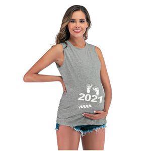 Frauen Mutterschaftsmode ärmellose Letter Print Tank Schwangerschaftsweste Tops Größe:M,Farbe:Grau