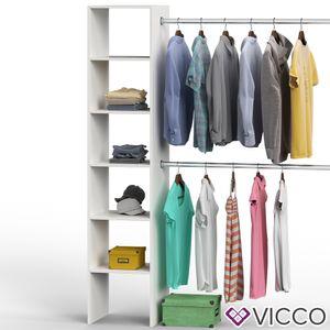 Vicco Kleiderschrank offen begehbar Regal Kleiderständer Schrank weiß Garderobe