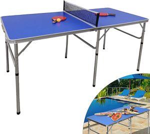 Tischtennisplatte Faltbare TT-Platte Tischtennistisch Spieltisch Netz 2 Schlägern+3 Tischtennisbällen für Innen- und Außenbereich 152x76x76 cm