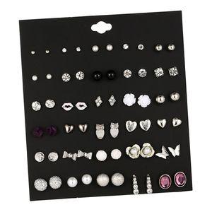 30 Paar Ohrstecker Runde Kugel Perle Bowknot Geometrisches Muster Ohrringe E E0136-1 14 x 12,5 cm