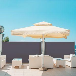 Seitenmarkise Ausziehbar Sichtschutz Windschutz Sonnenschutz Seitenrollo Alu, Farbe:Anthrazit, Größe:160x300cm