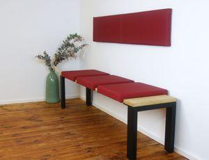 Klemm-Kissen Sitz-Kissen mit 2 Leisten Tiefe 40 cm grau rot taupe, Farbe:rot