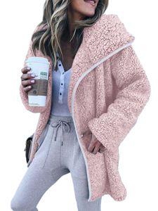 Damen Plus Size Teddybär Fluffy Zip Coat Damen Hooded Fleece Jacke Outwear,Farbe: Pink,Größe:XL