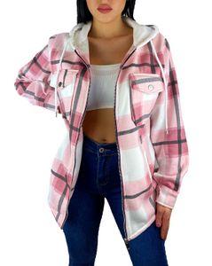Worldclassca Damen Oversized HOLZFÄLLERHEMD HEMDJACKE MIT Kapuze KARO Hemd KARIERT LANGARMHEND Brusttaschen HEMDBLUSE Bluse Shirt Designer Fashion Blogger NEU XS-XL 36-44