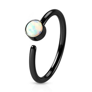 viva-adorno 0,8mm Nasenring Nasenpiercing Piercing Hoop Ring Opal Tragus Helix Cartilage Rook Ohrpiercing Z520,schwarz / weiß