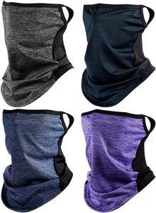 4 Stück Bandana Gesicht Schal Ohrschlaufen Gesichtsschutz Sturmhaube Halsmanschette für Frauen Männer Sport im Freien
