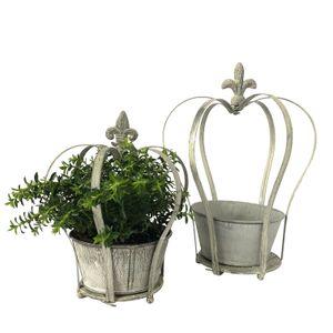 2 Blumentöpfe Krone im Antik Look aus Metall - Silber weiß Vintage P22