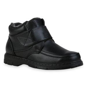 Mytrendshoe Herren Stiefel Warm Gefütterte Winter Boots Profil-Sohle Schuhe 835744, Farbe: Schwarz, Größe: 41