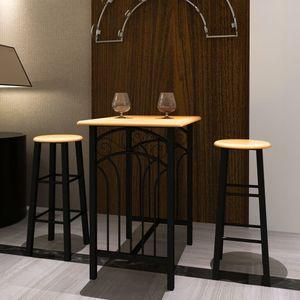Bar-Set 1 Hochtisch Stehtisch Bartisch + 2 Barhocker