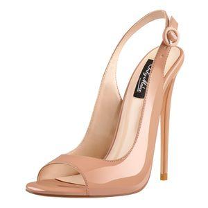 Only maker Damen Absatz Sandalen Slingback High Heels Lack Sandaletten Pumps mit Stiletto Kleid Party Schuhe Baby Pink 43 EU