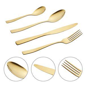 16teiliges Besteck-Set Löffel, Messer, Gabel, Kaffelöffel gold glänzend