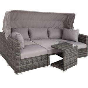 tectake Rattan Lounge mit Aluminiumgestell San Marino - grau