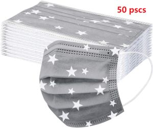 50 Stück Mundschutzmasken Einweg 3-lagig Staubschutz mit Graue Sterne