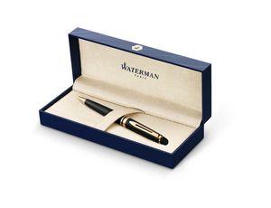 Waterman Expert Kugelschreiber | Hochglänzend Schwarz mit Zierteile aus 23 K Gold | Mittlere Spitze | Blaue Tinte | Geschenkbox