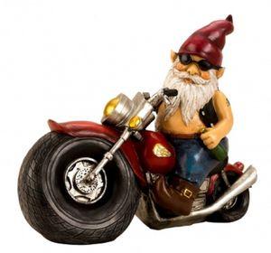 Gartenzwerg auf Motorrad 28 x 35 cm Gartenfigur Gnome Figuren