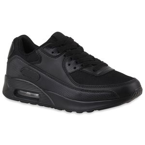 Mytrendshoe Damen Sportschuhe Neon Runners Laufschuhe Sneakers 74972, Farbe: Schwarz, Größe: 42