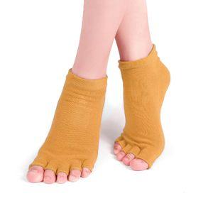 Rutschfeste Yoga-Socken aus Baumwolle mit offenen Zehen und Griffen fš¹r Frauen Pilates Ballet Dance Workout Sportsocken