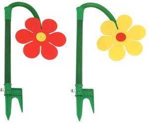 2er Set FloraSun Funflower, Sprinklerblumen Rasensprenger, lustige Gartendusche, Wasserspiel, Bewässerung, gelb und rot