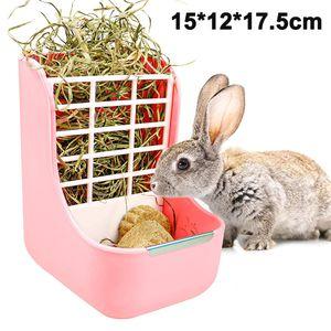 Hasen-Futterstation für Kaninchen, Meerschweinchen, Heu, Futterkorb, Heu und Futterschüsseln für Kaninchen, Meerschweinchen, Chinchilla und andere Kleintiere