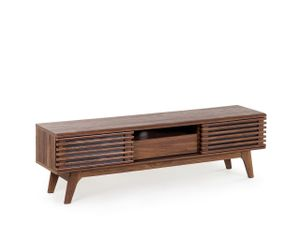 Fernsehtisch Dunkler Holzfarbton Spanplatte 44 x 149 x 35 cm Retro Multifunktional Praktisch Elegant Wohnzimmer