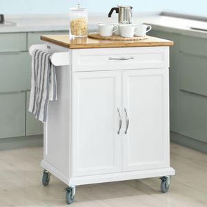 SoBuy Küchenwagen aus MDF mit Bambus Top, Küchenschrank, Servierwagen FKW13-WN