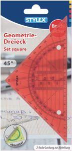 Stylex 48738 Geometriedreieck - 1 Stück -  bruchsicher -  abheftbar - rot und grün