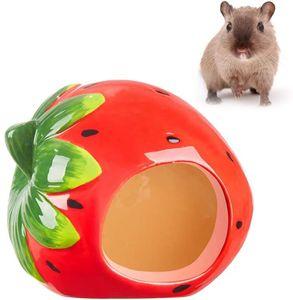 Kleintierversteck aus Keramik für Haustiere, Erdbeer-Form Zwerg Hamster Versteck Liebenswürdig Hamsterhaus Katzenhöhle für Chinchilla-Hamster 12 * 9 * 9cm