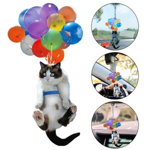 Niedliche Katze Auto hängende Verzierung mit buntem Ballon hängenden Verzierung Nachbildung Auto Innendekoration, Auto Anhänger Dekoration Auto Innenraumzubehör