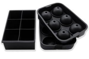 2er Set Eiswürfelform aus Silikon, Kugelform und Würfelform, schwarz