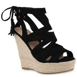 Mytrendshoe Damen Sandaletten Bast Keilabsatz Espadrilles Wedges Schuhe 814638, Farbe: Schwarz, Größe: 38