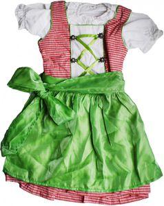 3-tlg Kinder Dirndl Mädchendirndl Dirndlbluse Dirndlschürze Kleid Rot/Grün Kariert, Größe:110