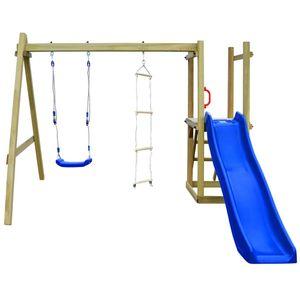 anlund Spielturm mit Rutsche Leitern Schaukel 242×237×175 cm Holz