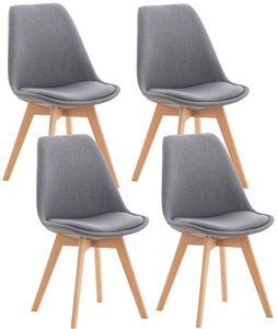 CLP 4er Set Stuhl Linares Kunststoff mit Kunstlederbezug, Farbe:hellgrau, Material:Stoff