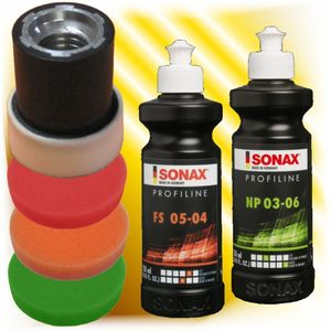 Sonax Profiline Politur Schleifpaste  250 ml 3 x Polierschwamm 30 mm  Set