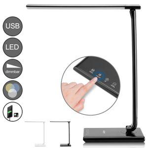 Monzana LED Schreibtischleuchte 5 Helligkeitsstufen Touch 12W USB-Ladeanschluss 560lm dimmbar Schreibtischlampe Büro, Farbe:schwarz