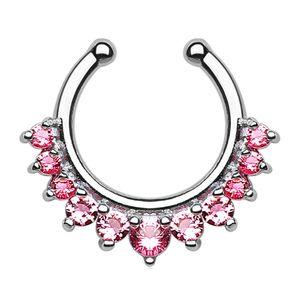 Nasenpiercing Nasenring Fake Piercing Septum Helix Kugeln Zirkonia Kristalle Strass silber-rosa