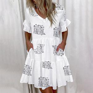 Mode lose kurze einfarbig passende bedruckte gekräuselte Tasche Damenkleid Größe:S,Farbe:Schwarz