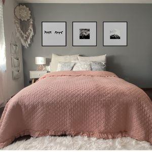 Tagesdecke Altrose Rüschen 220cm x 200cm Bett & Sofaüberwurf gesteppt und wattiert Bettüberwurf Bettdecken Überdecken