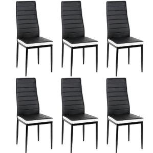WYCTIN Esszimmerstühle 6 Set Küchenstuhl Esszimmerstuhl Wohnzimmerstühle Schwarz Weiß