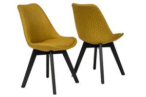 SalesFever Polsterstuhl 2er Set | Bezug Textilstoff | Gestell Buchenholz schwarz | Wabensteppung | B 49 x T 57 x H 84 cm | curry-gelb