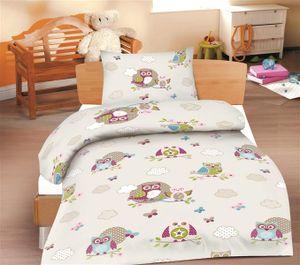 Optidream Renforcé Baby Bettwäsche 2 teilig Bettbezug 100 x 135 cm Kopfkissenbezug 40 x 60 cm Baby pink weiß Eule