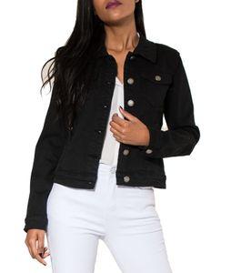 Damen Jeans Jacke Kurz Übergangsjacke Frühling Denim Weste, Farben:Schwarz, Größe:36
