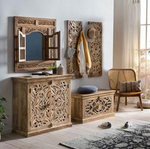 SIT Möbel 5-tlg. Dielen-Set   Mango-Holz natur   1 Kommode, 1 Spiegel, 1 Schuhschrank, 2 Garderobenpaneele   B 90 x T 40 x H 90 cm   18001-20   Serie LAKADEE