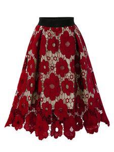 Damen elastische Taille Spitze Hohlrock lose Blume A-Linie langen Rock,Farbe: Rotwein,Größe:S