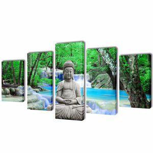 vidaXL Bilder Dekoration Set Buddha 100 x 50 cm