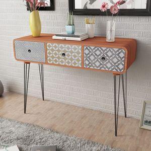 【Neu】Beistelltische Konsolentisch mit 3 Schubladen Braun Gesamtgröße:99 x 35,5 x 70 cm BEST SELLER-Möbel-Tische-Ziertische-Beistelltische im Landhaus-Stil