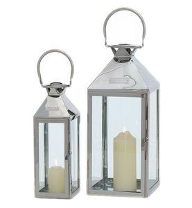 Laternen 2er Set Edelstahl Windlichter Kerzenhalter Höhe 35cm bis 45cm